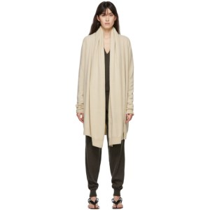 Frenckenberger Off-White Cashmere Big Neck Straight Cardigan