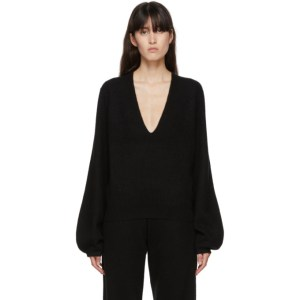 Frenckenberger Black Cashmere Mini Deep V-Neck Sweater