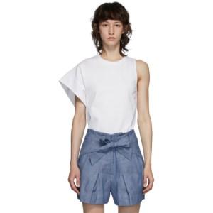 3.1 Phillip Lim White Asymmetric Sleeve T-Shirt