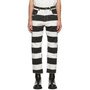 Vyner Articles Black and White Stripe Print Trousers