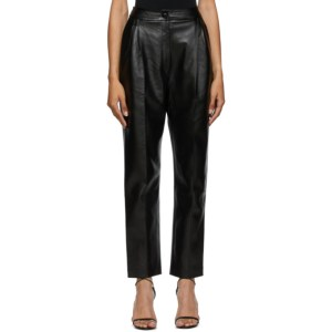 Materiel Tbilisi Black Faux-Leather High-Waist Trousers
