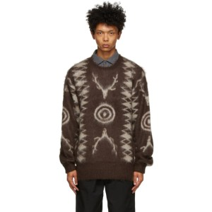 South2 West8 Brown and Beige Mohair Sweater