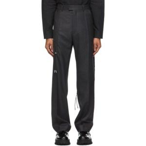 HELIOT EMIL Grey Wool Drawstrings Trousers