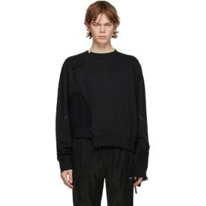C2H4 Black Distressed Panelled Crewneck Sweatshirt