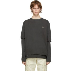 C2H4 Grey Distressed Double Layer Long Sleeve T-Shirt