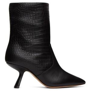 Nicholas Kirkwood Black Croc-Embossed Lexi Ankle Boot