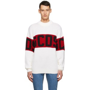GCDS White and Red Logo Sweater