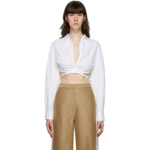 Christopher Esber White Crop Tie Shirt
