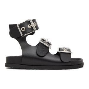Vivienne Westwood Black Leather Alex 3-Strap Sandals