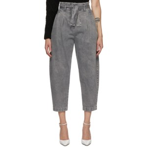 Wandering Grey High-Waist Cropped Jeans