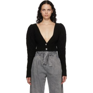 Wandering SSENSE Exclusive Black Cable Knit Cropped Cardigan