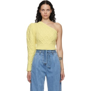 Wandering SSENSE Exclusive Yellow Single-Shoulder Cable Cropped Sweater