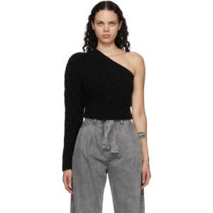 Wandering SSENSE Exclusive Black Single-Shoulder Cable Cropped Sweater