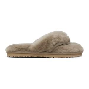 Mou SSENSE Exclusive Taupe Sheepskin Zori Flip Flop Sandals