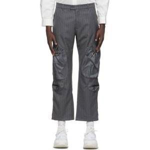 Li-Ning Black Wool Striped Pocket Trousers