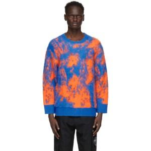 Li-Ning Blue and Orange Faux-Mohair Sweater