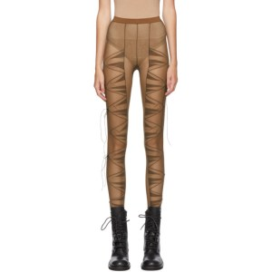 Nensi Dojaka SSENSE Exclusive Brown Pleated Panelled Tights