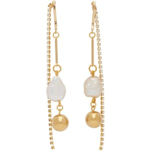 Mounser Gold White Cap Earrings