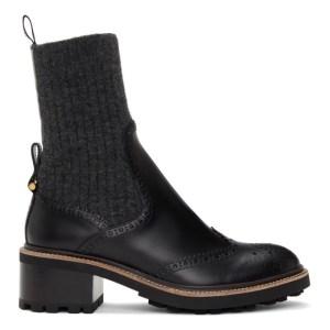 Chloe Black Franne Sock Ankle Boots