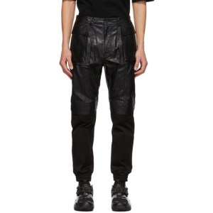 Juun.J Black Faux-Leather Cargo Pants