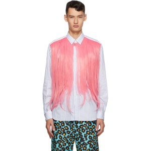 Comme des Garcons Homme Plus White and Pink Hair Shirt