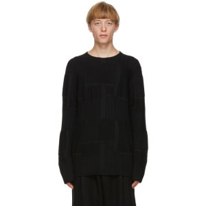 Comme des Garcons Homme Plus Black Patterned Worsted Yarn Sweater