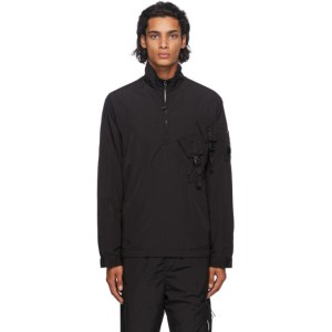 C.P. Company Black Nylon Half-Zip Over Shirt Jacket