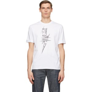 Neil Barrett White Scribble Bolt T-Shirt
