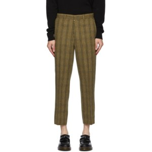 Andersson Bell Khaki Raw-Cut Wool Trousers