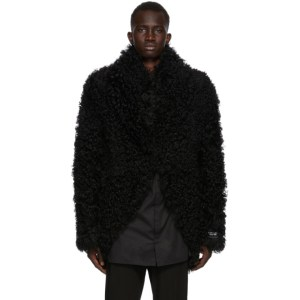 Ann Demeulemeester SSENSE Exclusive Reversible Black God of Wild Shearling Jacket