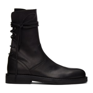 Ann Demeulemeester Black Leather Back Lace Boots