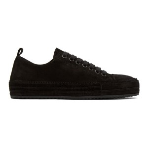 Ann Demeulemeester Black Distressed Suede Sneakers