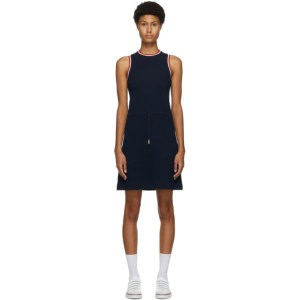 Thom Browne Navy Seersucker Drawstring Waist Dress