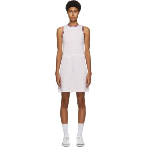 Thom Browne Pink Seersucker Drawstring Waist Dress