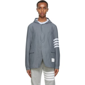 Thom Browne Grey Ripstop Unconstructed 4-Bar Jacket