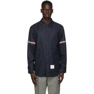 Thom Browne Navy Stripe Armband Snap Front Jacket