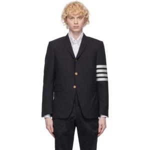 Thom Browne Navy Plain Weave Classic 4-Bar Blazer