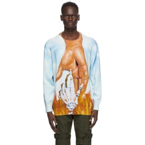Who Decides War by MRDR BRVDO Multicolor Sky Connected Crewneck