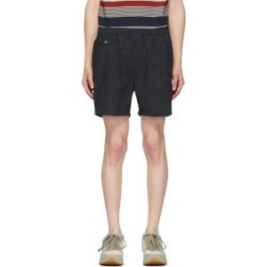 BEAMS PLUS Black and Grey Shadow Check Shorts