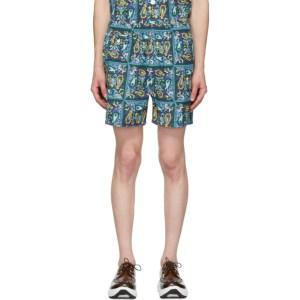 BEAMS PLUS Blue Beach Batik Print Shorts