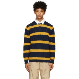 BEAMS PLUS Navy and Yellow Rugger Long Sleeve Polo