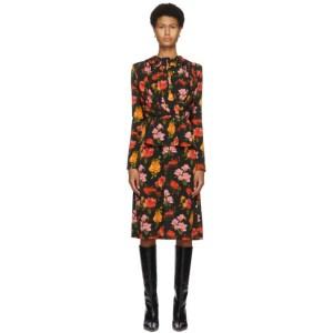 Commission Black Floral Drape Ruffle Dress