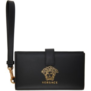 Versace Black and Gold Medusa Phone Pouch