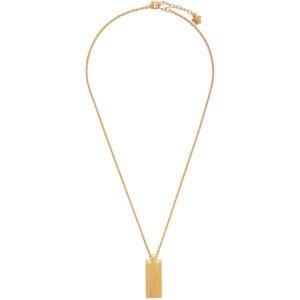 Versace Gold Logo Dogtag Necklace