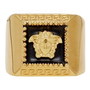Versace Gold and Black Square Medusa Ring