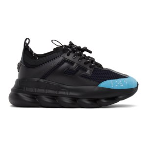 Versace Black and Blue Chain Reaction Sneakers