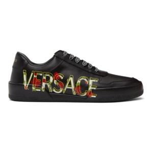 Versace Black Floral Ilus Sneakers