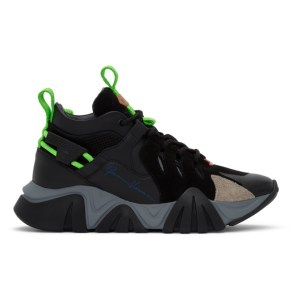 Versace Black and Green Squalo Hiker Sneakers