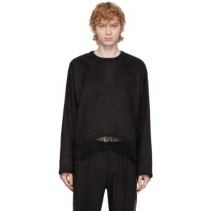 Sasquatchfabrix. Black Faux-Suede Fringe Sweatshirt
