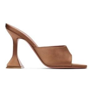 Amina Muaddi SSENSE Exclusive Brown Lupita Slipper Heels